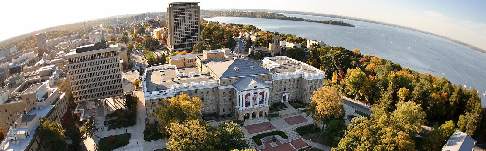Aerial shot of Bascom hall with Lake Mendota in background